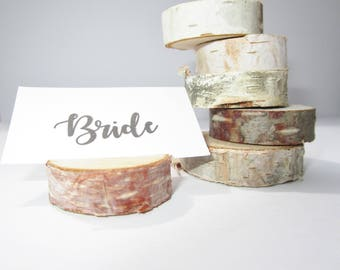 Birch Wood Place Card Holders