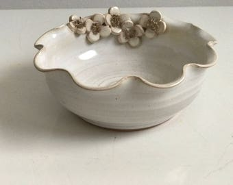Trinket dish floral boho jewellery dressing table handmade stoneware studio pottery Rosemary Jones