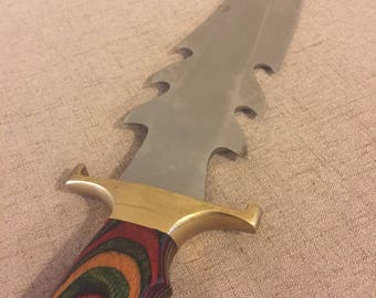 Bowie Style Knife, Pakistan, Ninja Knife, Laminate Wood Handle, Leather Sheath, Stamped, Stainless, colorful