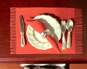 Dollhouse Miniature Red Cloth Napkins with Silver Napkin Rings 1:12 Scale