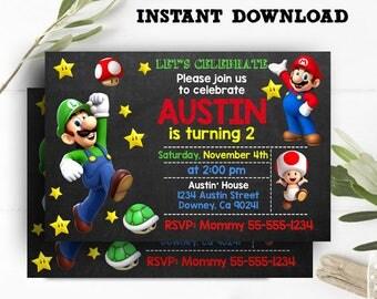 Super Mario Invitation, Super Mario Party, Super Mario Birthday, Super Mario Birthday Invitation, Super Mario Bros Party - INSTANT DOWNLOAD