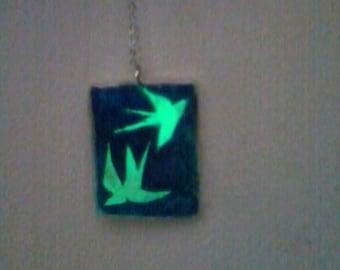 Pendant plate rectangular fluorescent swallows