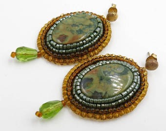 Earrings embroidered creator, RHYOLITE rocks, chips in Silver 925 gold plated