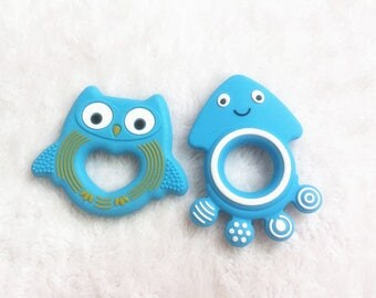 2 pcs Blue Owl Teether Food Grade Silicone Teether Jellyfish BPA free Baby Teether Nursing Toy Baby Rattles Sensory pendant