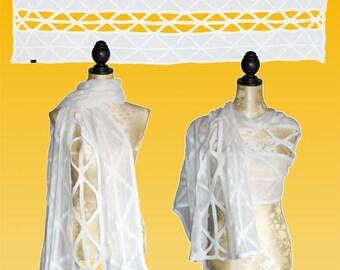 Silk stoles breached natural white, Nuno scarf, felt scarf, silk, wool