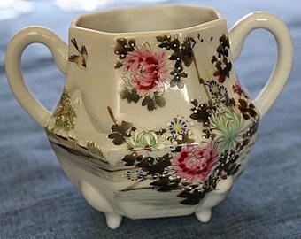 Japanese Eggshell Porcelain Sugar Bowl Hand painted