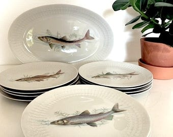 Beautiful fish Winterling Bavaria of 12 plates and a flat service. Vintage 1970's