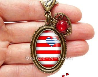 Bijou de sac * Coeur marin * cabochon rayures rouges et bleues bronze verre