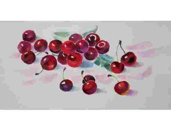Watercolor painting, a small still-life, Cherry watercolor, small watercolorfruit watercolor  17x32