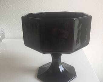 vintage black octagon compote footed dish