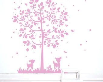 Wall Decal Tree with Deer and Rabbit Childrens Bed Room M2126
