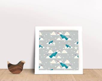 Sea unicorn Poster, Narwhal Print, Print, art Print, Childrens Print, Childrens decor, Nursery wall art, kids room decor, playroom decor