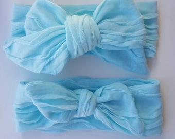 Teal Mini Ruffle Headwrap & Topknot Wrap