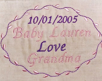 Personalized Quilt Labels, Custom Quilt Labels Personalized, Quilt Label Fabric, Embroidered Quilt Baby, 4 x 5 inches, Unfinished Edge