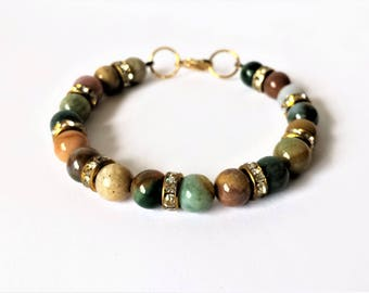 Colourful Indian agate gemstone with crystal rondelles bead bracelet
