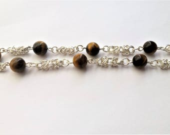 Tiger eye beads and byzantine chain necklace