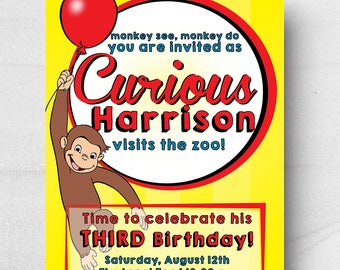 Curious George Invitation, Birthday Party Invitation, Curious George Theme, Zoo Invitation