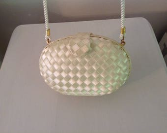 Vintage Whiting And Davis Cream Color Evening Bag