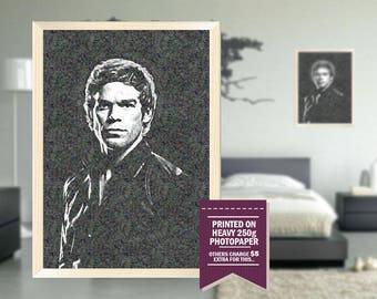 Dexter poster, fan art, dexter print, GIFT, impressionist design, dexter, cool gift idea, dexter print, gift for him, for him, gifts for him