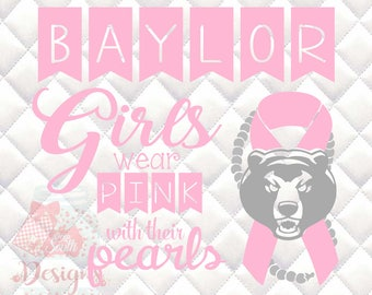 Baylor Bears Pink and Pearls - Breast Cancer Awareness - SVG, Silhouette studio and png bundle