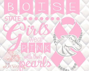 Boise State Broncos Pink and Pearls - Breast Cancer Awareness - SVG, Silhouette studio and png bundle