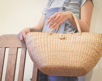 Weaving seagrass (water hyacinth) tote bag handmade from Thailand Straw bag