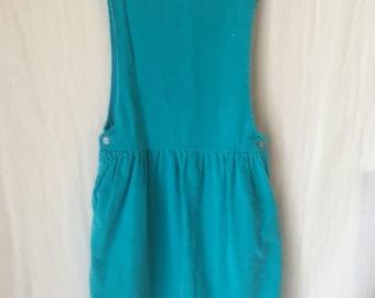90s corduroy dress, teal corduroy dress, vintage teal dress, 90s sleeveless dress