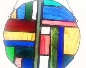 Colorful Abstract Stained Glass Sun Catcher