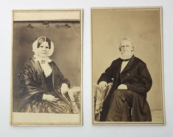 1860's | Mr. & Mrs. Loomis Portraits | two sepia toned photographs