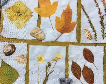 Decoupage Napkins x4, Paper Napkins for Decoupage Craft Collage Leaves Fall Autumn 738