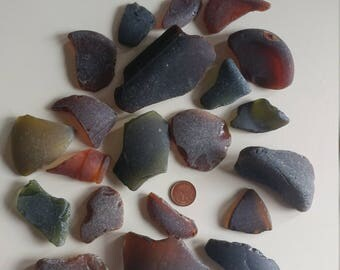 Genuine surf tumbled Black AUTHENTIC sea glass beach glass. Over 1lb Brown Olive
