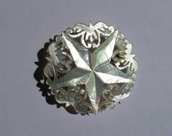Hand made mother of pearl 5 five pointed star brooch pin hand carved from shell vintage