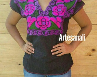 Mexican Hand embroidered denim blouse-medium/girl size