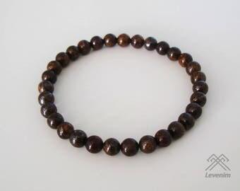 Bronzite bracelet - Bronzite beads - Mens bracelet - Unisex bracelet - Beaded bracelet - Bronzite