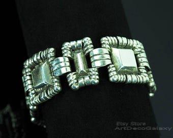 "William Spratling Art Deco Sterling Silver ""Crowned Pyramid"" Bracelet-Circa 1930"