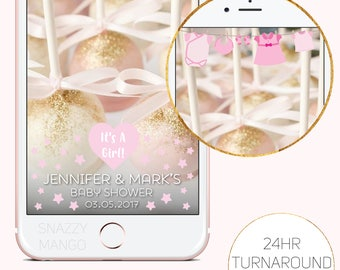Pink Baby Shower Snapchat Geofilter, It's A Girl Snapchat Geofilter, Baby Shower Snapchat Filter, Baby Shower Geofilter, Girl Filter!