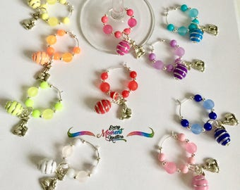 Easter Egg Themed Wine Glass Charms