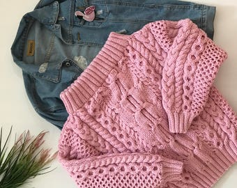 Pink knit sweater oversized women clothing off shoulder sweater cable knit jumper slouchy sweater pullover party jumper sweater chunky wool