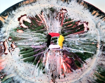 "Medicine Wheel - 4"" Round Original Abstract Ceramic Painting"