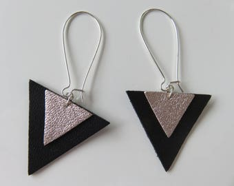 """Divya"", two triangles leather earrings"