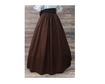 Skirt Only-Renaissance Civil War Victorian Southern Belle LARP Cosplay Dickensonian Pioneer - brown - full maxi skirt dress costume