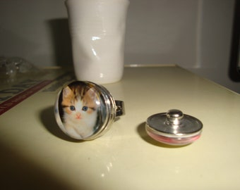 ring silver adjustable cabochon kitten removable snap clips