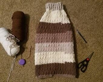 Handmade Dog Sweater | Medium sized dog sweater | Crochet blanket yarn