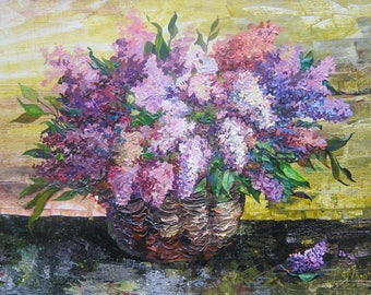 Lilac painting original acrylic Floral art canvas Flower wall decor Gift for woman Original Painting Home Decor