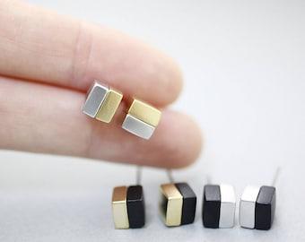 Tiny Two Color Cube Block earrings-geometric jewelry, Cube earrings, Square earrings, Block earrings