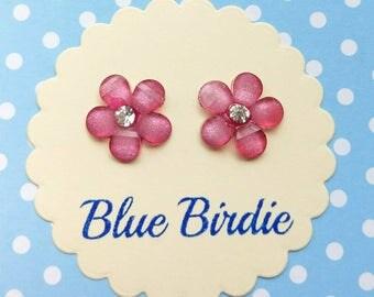 Pink flower earrings flower jewellery flower jewelry faceted flower earrings bright flower earrings flower gift summer jewellery