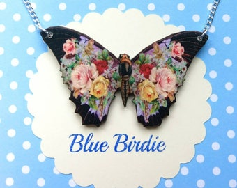 Butterfly necklace butterfly jewelry butterfly gifts for her black floral butterfly bib necklace butterfly jewellery insect jewelry