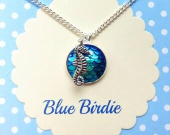 Seahorse necklace seahorse pendant necklace seashore jewelry seahorse jewellery fish scale seahorse necklace sea creatures seahorse gifts
