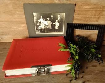 Vintage photo album, Big photo album, Red vintage album, Soviet album Leningrad, Original photo album, Collectible item, Made in the USSR.