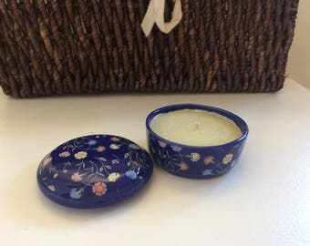 Vintage Candle - handmade, vanilla scented tea light made from small blue, patterned trinket box